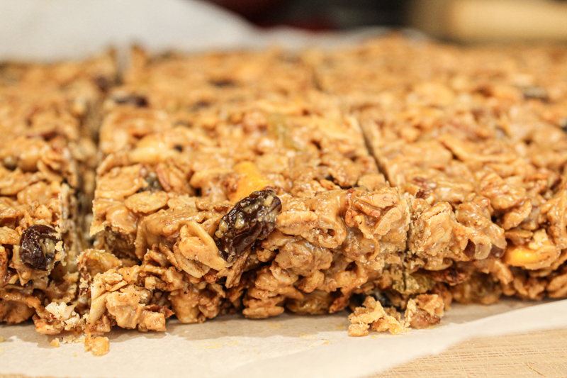 Sliced sheet of homemade chewy granola bars
