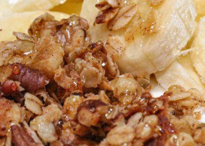Honey nut granola on yogurt with banana slices