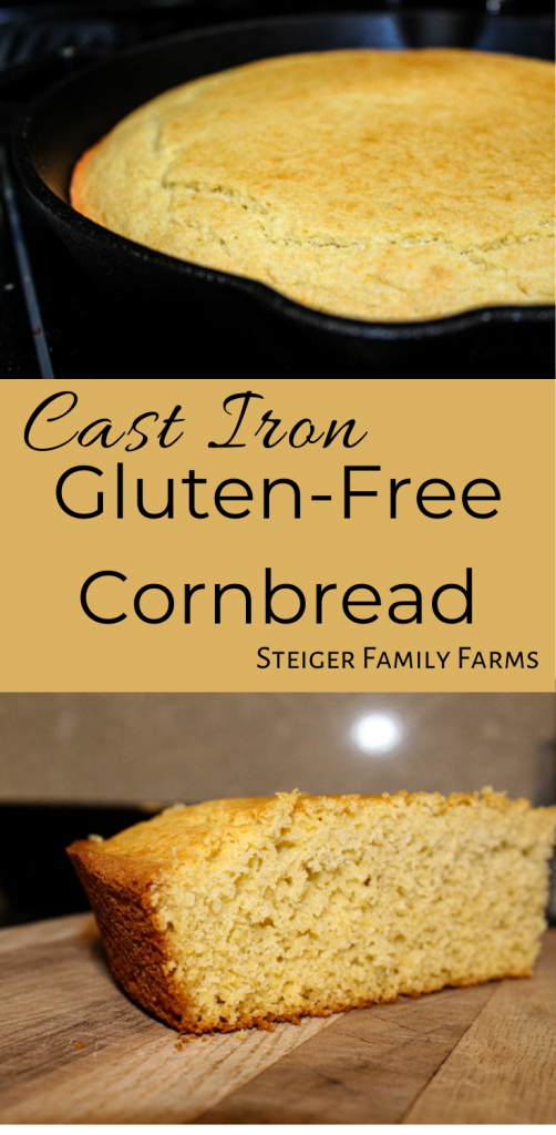 Two images of cast iron gluten free cornbread separated by text