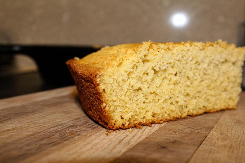 gluten-free cornbread on a cutting board