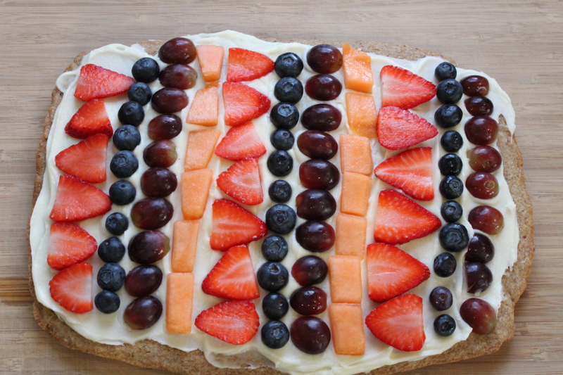 top view of a dairy and egg free fruit pizza
