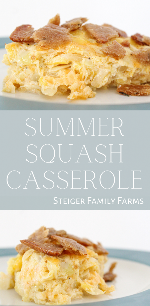 two images of summer squash casserole separated by a box of text