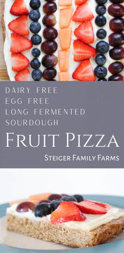 two pictures of fruit pizza separated by a block of text