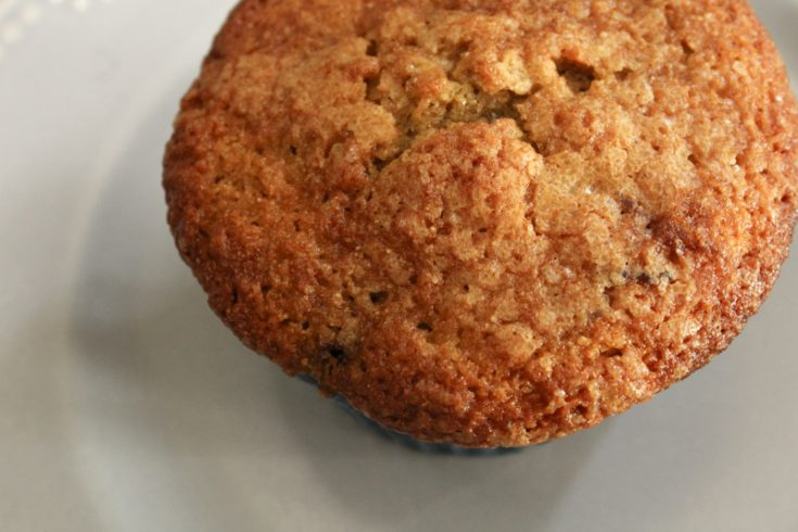 Aerial view of a blueberry muffin sitting on a light blue plate