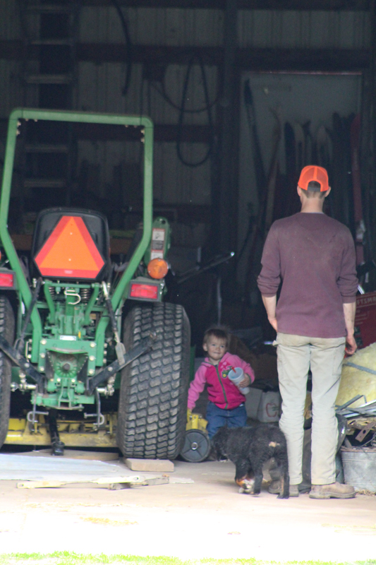 shelby with her dad in the barn by the tractor