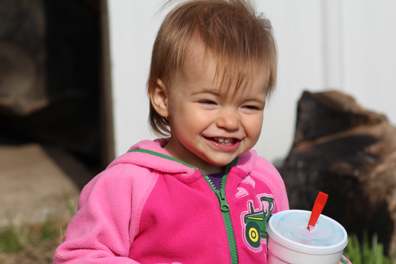 close up of a little girl smiling