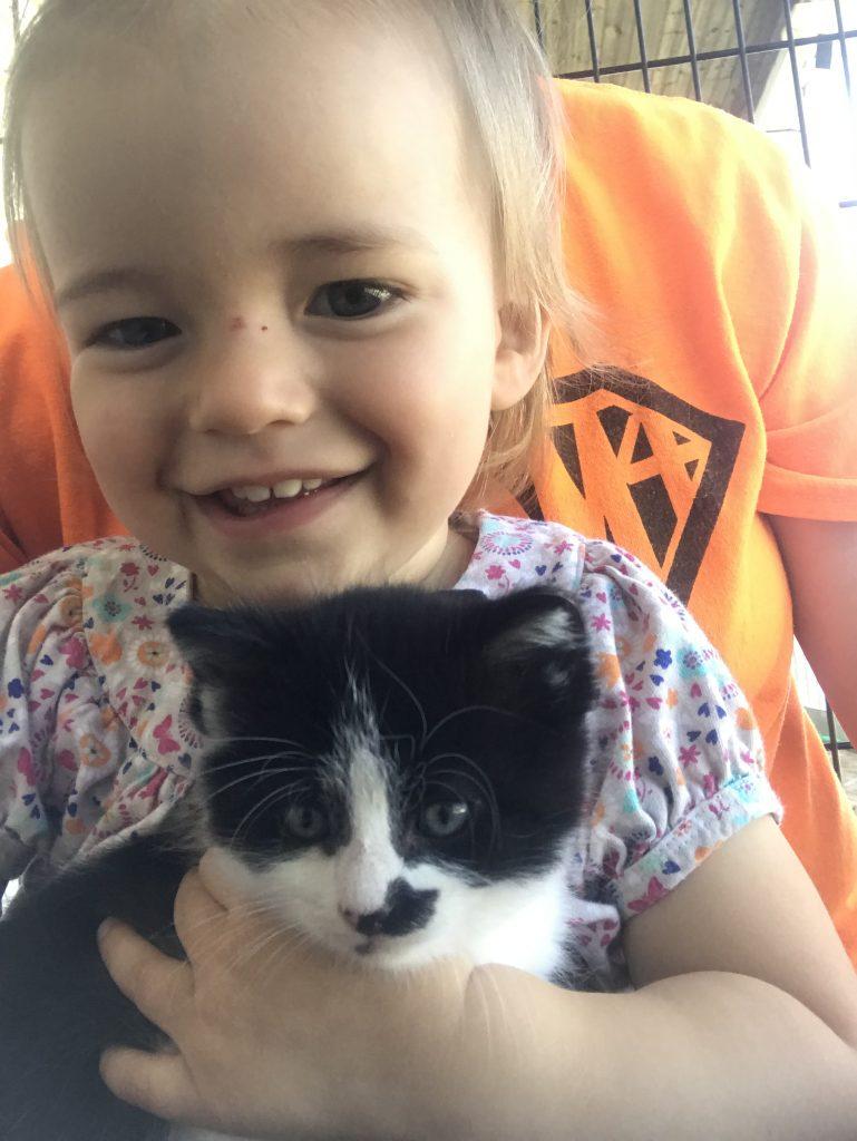 Shelby holding 5 week old kitten Mustache