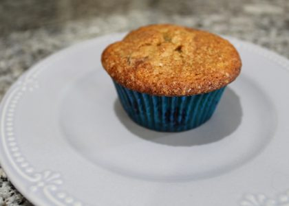 blueberry muffin sitting on a pale blue plate on the counter