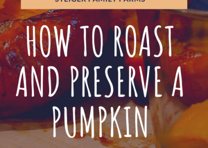 roasted pumpkin sitting on a cutting board on the left. A four cup glass measuring cup with pumpkin chunks sitting on the right. background image is dimmed and overlaid with white and orange text
